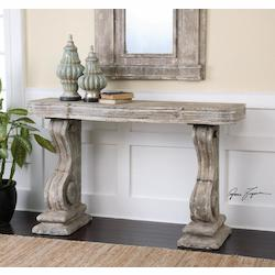 Distressed Stone Gray With Ivory Wash Partemio Distressed Console Table