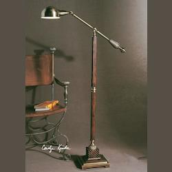 Mahogany Wood Tone With Antique Bronze Metal Detail Dalton Floor Lamp