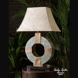 Hand Carved Slate Body, Hammered Copper Details Circle Slate Indoor/Outdoor Table Lamp