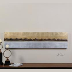 Hand Painted Canvas Meadow Lights 72In.W X 18In.H Abstract Painting