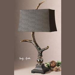 Burnished Bone Ivory Finish With A Crackled Wood Tone Base And Cast Aluminum Accents Stag Horn Table Lamp