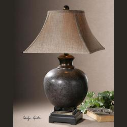 Mottled Rust Brown Villaga Distressed Table Lamp