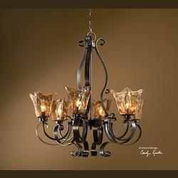 Oil Rubbed Bronze Vetraio 6 Light 1 Tier Chandelier with Handmade Glass Shades