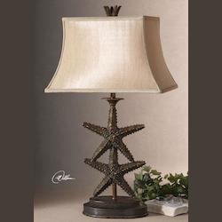 Antique Gold / Dark Gray Wash Starfish Design Table Lamp from the Starfish Collection