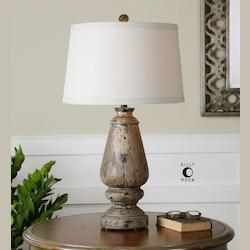 Distressed Hand Painted Black Doria 1 Light Table Lamp