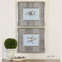 Artwork Reproduction Bug Study Framed Wall Art, Set of Two