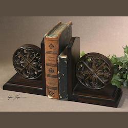 Distressed Chestnut Brown Chakra Bookends Set of 2