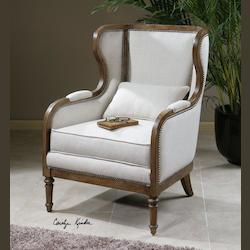 Wood And Linen Neylan Linen Chair - 150673