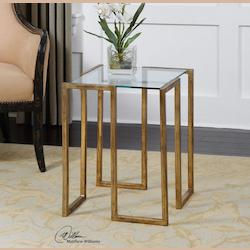 Gold Mirrin 16.25in.W Iron Accent Table