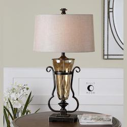 Amber Glass And Bronze Aemiliana Table Lamp With Round Shade - 150697