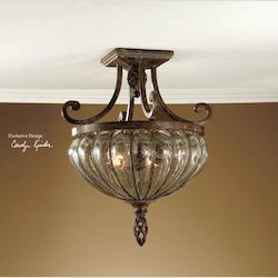Antique Saddle 2 Light Semi Flush Ceiling Fixture from the Galeana Collection