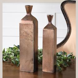 Set Of 2 Traditional Metal Vases - 150726