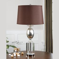 Antiqued Silver Leaf With Chunky Crystal Almira 1 Light Table Lamp