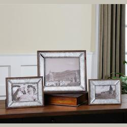 Antiqued Bevel Mirror with Aged Pecan Wood Daria Antique Mirror Photo Frames, Set of Three