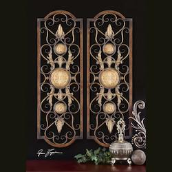 Distressed Chestnut Brown With Antiqued Gold Micayla Set of 2 Medallion Accent Metal Wall Art