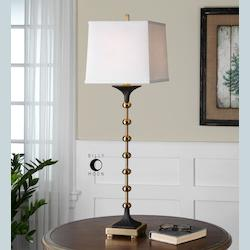 Brushed Brass Santona Buffet Lamp with Square Shade