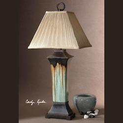 Light Green And Metallic Brown Porcelain Body With Antiqued Dark Brown Metal Details Olinda Table Lamp