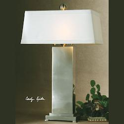 Satin Nickel Metal Metal Contempo Table Lamp