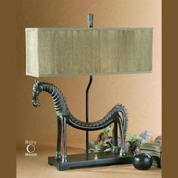 Heavily Antiqued Gold Leaf With A Bronze Base Tamil Horse Table Lamp