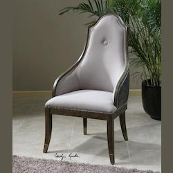 Wood And Linen Sylvana Linen Chair With Faux Leather Back - 150820