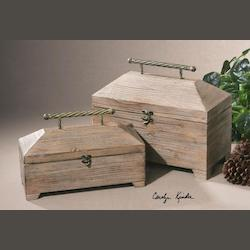 Natural Wood Tadao Set of 2 Decorative Containers