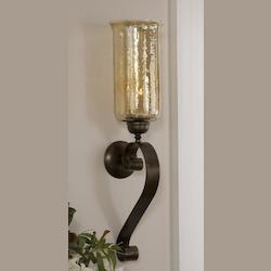 Antiqued Bronze Joselyn Candle Wall Sconce with Glass Globe