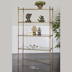 Antiqued Gold Leaf Henzler Etagere Shelves