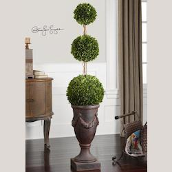 Green / Ancient Bronze Preserved Boxwood Triple Topiary