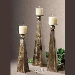 Rustic Bronze Cesano Set of 3 Candle Holders