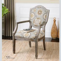 Blues And Pebble Tan Weathered Accent Chair - 150938