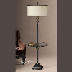 Rustic Black Single Light Up / Down Lighting Post Floor Lamp with Glass Shelf from the Revolution Collection