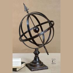 Antique Brown Diez Metal Globe on Stand