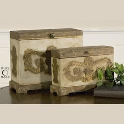 Natural Wood Scotty Boxes Set of 2