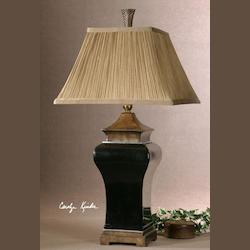 Ebony Glaze With Sand Stone Accents Delmar Table Lamp