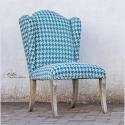Plush Chenille Blue Armless Chair - 151032