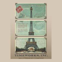 Artwork Reproduction Eiffel Tower Carte Postale Set of 3 Wall Art