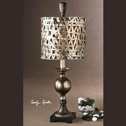 Antiqued Silver Cast Aluminum Base With Wood Tone Details Alita Champagne Buffet Lamp