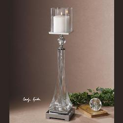 Grancona Polished Nickel Candle Holder - White Candle Included