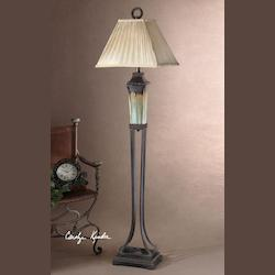 Light Green And Metallic Brown Porcelain Body With Antiqued Dark Brown Metal Details Olinda Floor Lamp