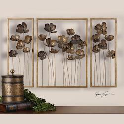 Antique Gold Leaf Metal Tulips Set of 3 Wall Art