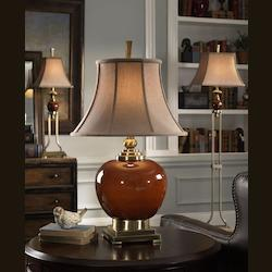 Cinnamon Red Porcelain With Coffee Bronze Metal Details. Daviel Porcelain Round Table Lamp