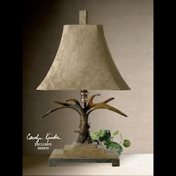 Natural Brown And Ivory Toned With Silver Accents Stag Horn Table Lamp