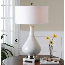 White Ceramic And Polished Nickel Helton Table Lamp with Drum Shade