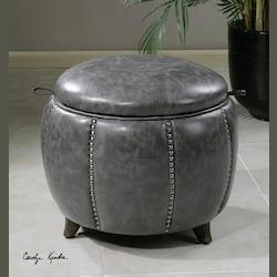 Clouded Zinc Linford Round Storage Ottoman
