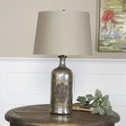 Antiqued Mercury Glass With Antiqued Brass Borel 1 Light Table Lamp