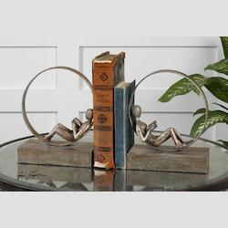 Antique silver Leaf Lounging Reader Bookends Set of 2
