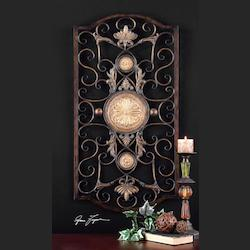 Distressed Chestnut Brown With Antiqued Gold Micayla Large Medallion Accent Metal Wall Art