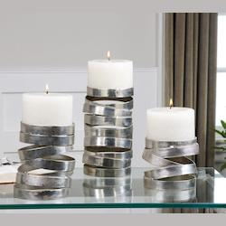 Uttermost Tamaki Silver Candleholders, S/3 - 19810