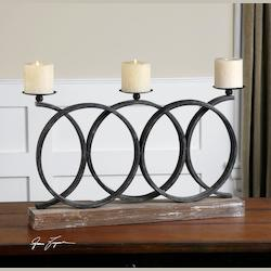Wood Kra Aged Iron Candle Holder - Beige Candles Included
