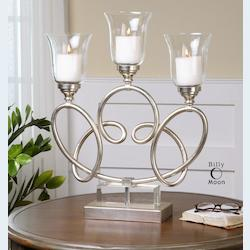 Bright Silver Mili Knotted Metal Candelabra